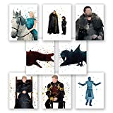 PGbureau Game of Thrones Wall Art Posters – Set of 8 Got Home Decor Prints – Daenerys Targaryen – Jon Snow – Cersei Lannister – Tyrion – Jaime – Night King (8x10)