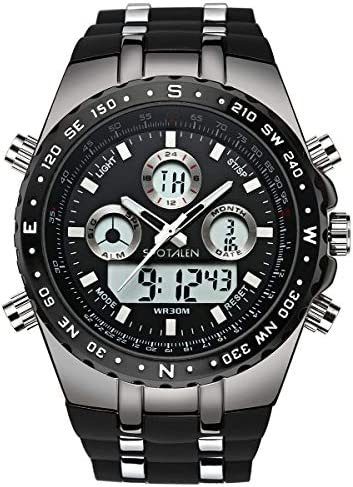 SPOTALEN Men s Sport Watch Waterproof Military Wrist Watches Multi-Functional Analog Digital Backlight Watches in Black Silicone Band Dial 1.78 inches