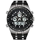 SPOTALEN Men's Sport Watch Waterproof Military Wrist Watches Multi-Functional Analog Digital Backlight Watches in Black Silicone Band