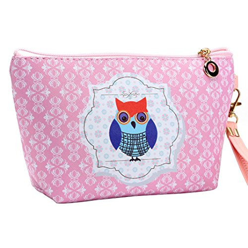 ZHOUBA Small Cute Cartoon Owl Faux Leather Travel Wristlet Makeup Cosmetic Holder Bag Coin Pouch - 5 3#
