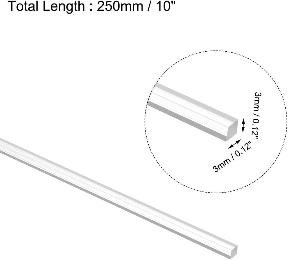 sourcing map Acrylic Square Rod,0.12 x 0.12 x 10 inch Clear,Solid Plxi Glass Plastic Lucite PMMA Bar Stick