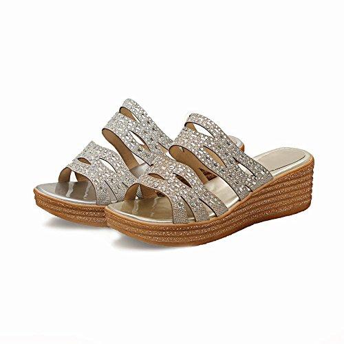 Mee Shoes Damen Keilabsatz Open Toe Leopard Pantoletten