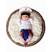 M&G House Newborn Baby Photo Photography Prop Handmade Crochet Knitted Cute Marines Outfit+Soft Bib