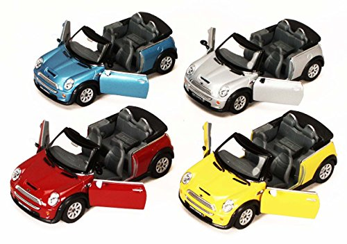 KiNSMART Mini Cooper S Convertible, Set of 4 5089D - 1/28 Scale Diecast Model Toy Cars