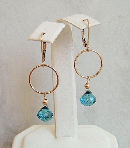 Teal Blue Onion Briolette Quartz Round Jewelry Rings Gold Filled Leverback Earrings (Blue Earrings Quartz Briolette)