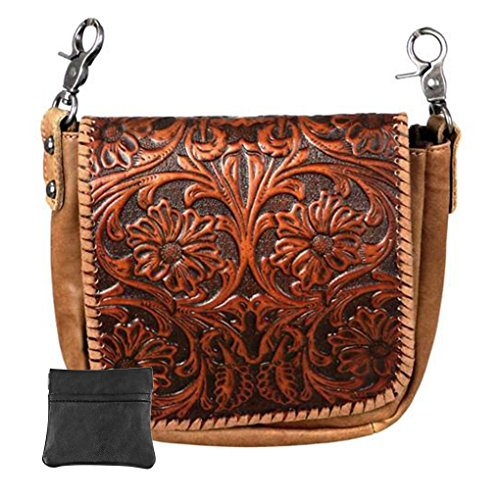 - Handcrafted Leather Convertible Clutch Crossbody Handbag Biker Bag (Brown3 with Tooled Vintage)