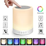 Kimfoxes LED Bluetooth Speaker Wireless LED Bedside Lamp with Touch Control Dimmable Table Lamp Outdoor Portable Handsfree Changing Night Light Music Player Multicolor(White)