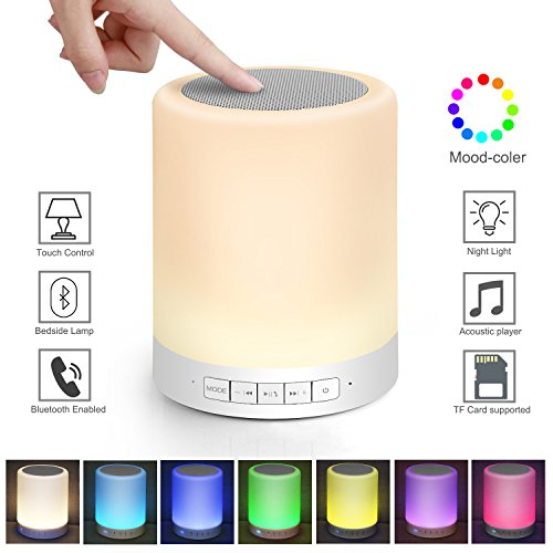 Kimfoxes LED Bluetooth Speaker Wireless LED Bedside Lamp with Touch Control Dimmable Table Lamp Outdoor Portable Handsfree Changing Night Light Music Player Multicolor(White) by Kimfoxes