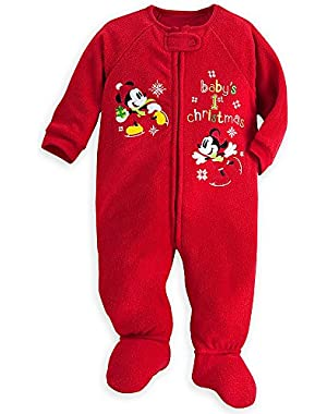 Disney Mickey Minnie Mouse Baby's 1st Christmas Sleeper Bodysuit Size 3 - 6 Months