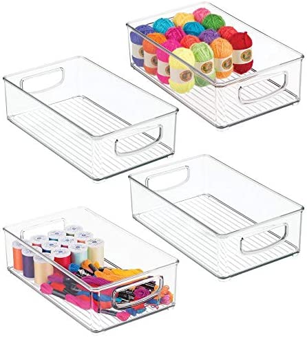 mDesign Stackable Plastic Storage Organizer Bin with Built-in Handles – for Craft, Sewing, Art, School Supplies in Home, Classroom, Playroom or Studio, 4 Pack – Clear