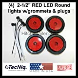 (4) LED 2.5'' Round Red Clearance/side Marker Light Kit with Light Grommet and Wire Pigtail Truck Trailer Rv - Made in USA with Lifetime Warranty!