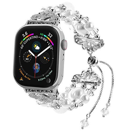 Fohuas Compatible for Apple Watch Band 42mm 44mm Series 4 3 2 1, Adjustable Crystal Beads Handmade Pearls iWatch Bracelet Elastic Jewelry Wristband for Women Girl, White [Updated Style] ()