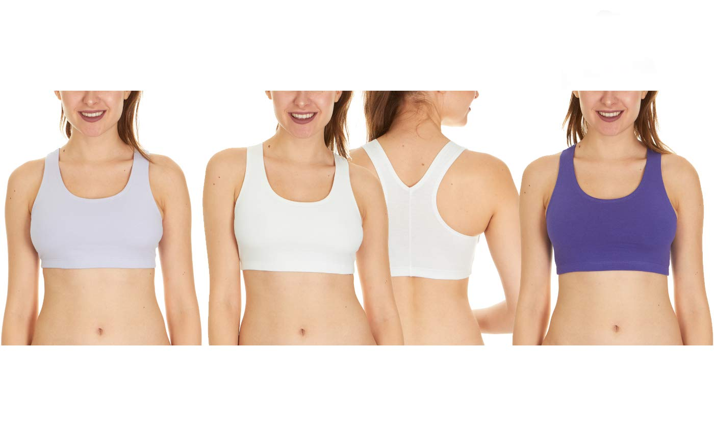 3 Pack of Fruit of The Loom Women's Cotton Sports Bras, Ash/White/Purple, Small
