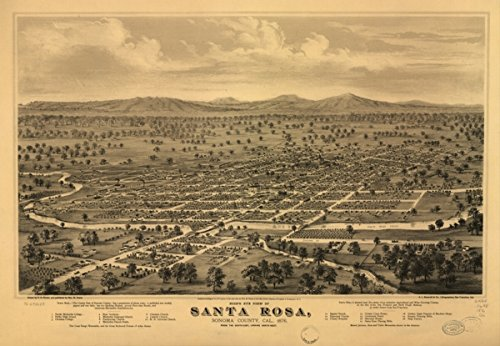 Map: 1876 Bird's eye view of Santa Rosa, Sonoma County, Cal., 1876. From the south-east looking north-west|California|Santa Rosa|Santa Rosa|