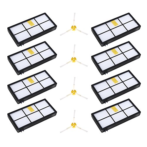 Virtual Wall Scheduler (iRobot Roomba Replenishment Part Kit - Vacuum Cleaner Accessories for iRobot Roomba 800 900 Series 805 860 870 871 880 890 960 980 Includes 8pcs HEPA Filters & 4pcs Side Brushes)