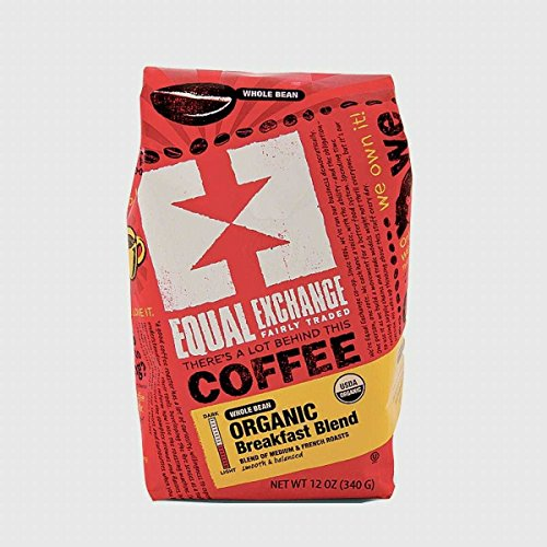 Equal Exchange Organic Whole Bean Breakfast Blend Coffee, 12 Ounce -- 6 per case.