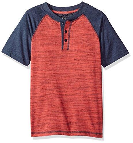 - LEE Boys' Big Short Sleeve Henley Tee Shirt, Sorbet, S