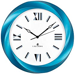 LACCONA Large Wall Clock Kitchen Office Vintage TIME Decor Size 15¾ Cool Metal Hands Huge Big White Analogue Face Silent Non-Ticking Contemporary 3D Frame Design Unusual Retro Roman Numbers