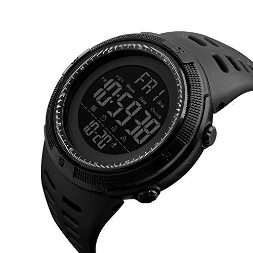 Men's Digital Sport Watch Led Quartz Wrist Watch with Alarm Stopwatch Dual Time Zone Countdown EL Backlight Calendar Date Watches (All Black) Date Black Watch