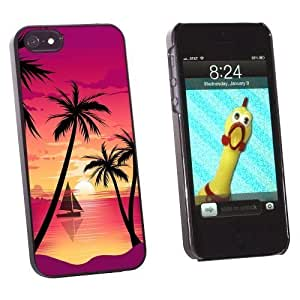 Graphics and More Beach Sunset - Palm Tree Sail Boat Vacation Snap-On Hard Protective For Iphone 5C Phone Case Cover - Non-Retail Packaging - Black