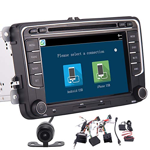 Backup Camera Included, Volkswagen Car DVD Player Double Din Car Stereo with GPS Navigation in Dash Bluetooth Head Unit Support AM FM Radio Audio System Mirrorlink Steering Wheel Control