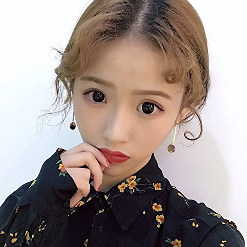 Clip Baguette Earrings - Tortoiseshell small round golden caramel color mix and match earrings women girls students baguette earrings no pierced ear clip 764