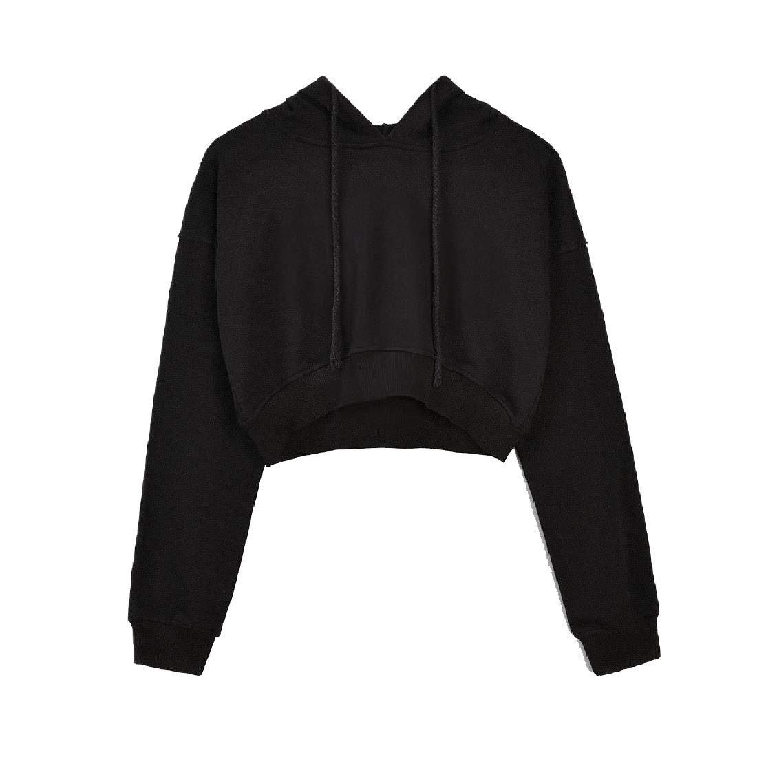 Sebaby Womens Pullover Pure Color Long Sleeve Crop Tunic Hoodie Sweatshirts
