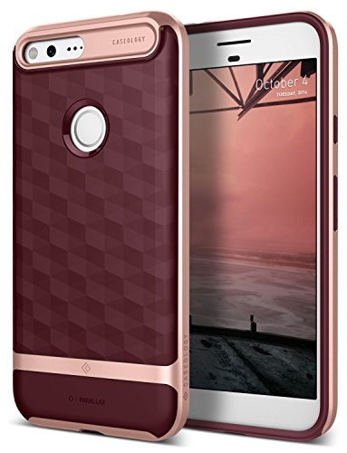 Google Pixel Case, Caseology [Parallax Series] Slim Dual Layer Protective Textured Geometric Cover Corner Cushion Design for Google Pixel (2016) - Burgundy