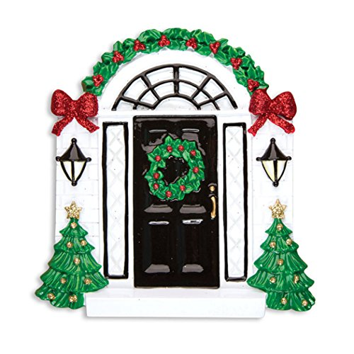 Personalized Elegant Black Door Christmas Tree Ornament 2019 - Garnish Entrance New Apartment with Wreath Near Tree- Front Family 1st House-Mate Room Neighbor Ribbon Gift Year - Free Customization