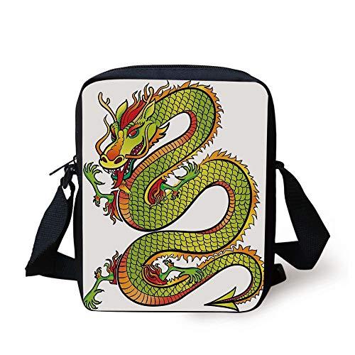 Dragon,Japanese Old Fashion Ancient Folk Myth Creature in Vibrant Toned Design Decorative,Lime Green Marigold Red Print Kids Crossbody Messenger Bag ()