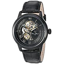 Lucien Piccard Men's 'Optima' Stainless Steel and Leather Automatic Watch, Black (Model: LP-12524-BB-01)
