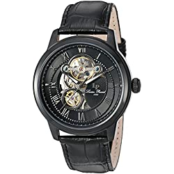 Lucien Piccard Men's 'Optima' Stainless Steel and Leather Automatic Watch, Color:Black (Model: LP-12524-BB-01)