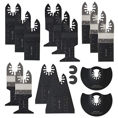 15pcs Wood/Metal Oscillating Saw Blades Professional Multitool Quick Release Blades Carbide Tool, Fit Dewalt Ryobi Porter Cable Dremel Fein Multimaster Bosch Black & Decker Craftsman Ridgid