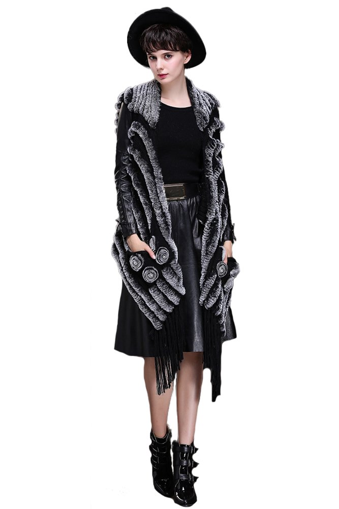 Queenshiny New Style Women's 100% Real Rex Rabbit Fur Vest Cape-Black by Queenshiny