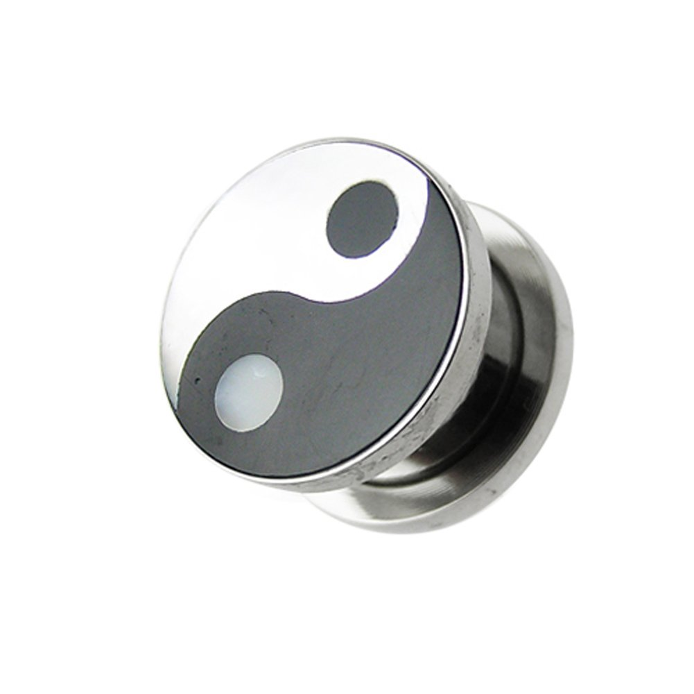14MM YIN-YANG Mother of Pearl with 316L Surgical Steel Fit Ear Flesh Tunnel Body jewelry