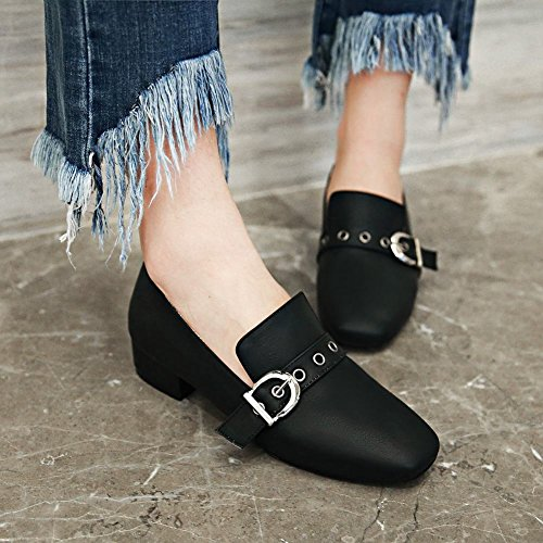 Shoes Toe Monk Black Loafers Retro Buckle Moccasin Womens Square Carolbar q8wvOn6FO
