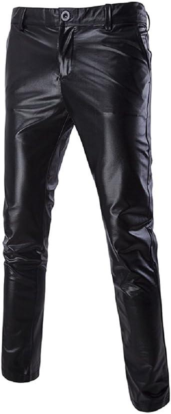 Mens Faux Leather Shiny Skinny Moto Biker Tight Pants Long Trousers Clubwear