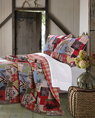 Greenland Home 2 Piece Rustic Lodge Quilt Set, Twin (Plaid Bear Comforter Twin Set)