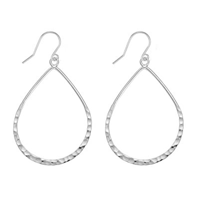 309de44d7 Image Unavailable. Image not available for. Color: Sterling Silver Open Large  Teardrop Earrings