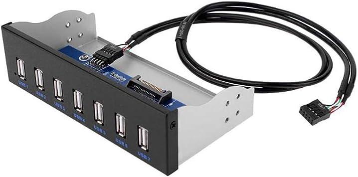 YUANHANMFM 5,25 Pulgadas 9 Pines a 7 Puertos USB 2.0 Hub CD一ROM Unidad Bay CD ROM Panel Frontal con Chip HUB para Caja de computadora: Amazon.es: Electrónica