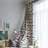 iBelly Curtain Simple Style Cotton Lint Horizon Stripes Print Contracted Punching Cute Beautiful Blackout Curtain for Living Room, Bedroom, Nursery, Home Theaters