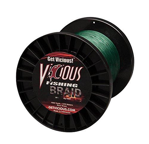 Vicious Fishing Moss Green BBG100 Braided Line 1500 yd Spool/100Lb (Spools 1500 Yd)