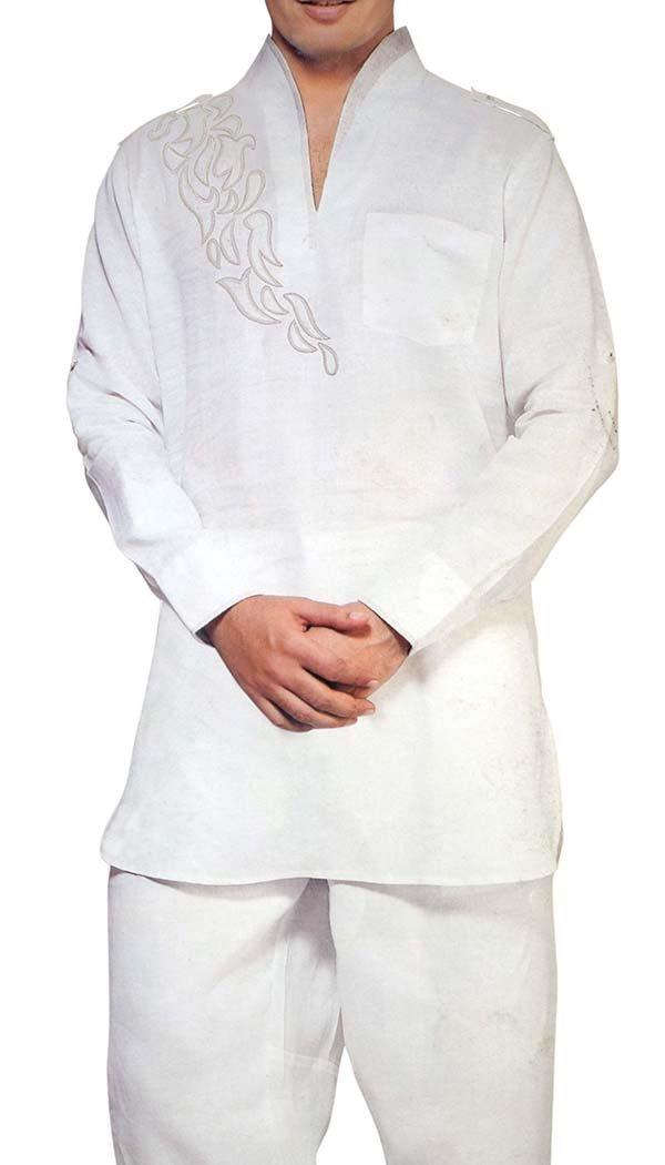 INMONARCH Mens Linen Short Kurta Pyjama Patch Work KP3029 44R White