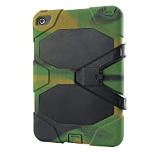 IIYBC Brand for Apple iPad Mini 4 Defender Shockproof Survivor Military Duty Hybrid Hard Case with Soft Silicone (Army green)