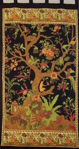 Tree of Life Tab Top Curtain-Drape-Door Panel-Black/Cream by India Arts