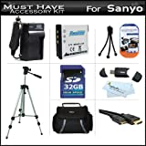 32GB Accessory Kit For Sanyo VPC-GH4 VPC-GH2 High Definition Camcorder Includes 32GB High Speed SD Memory Card + Extended (900Mah) Replacement Sanyo DB-L80 Battery + AC/DC Travel Charger + Deluxe Case + Tripod + Mini HDMI Cable + USB 2.0 SD Reader + Mo