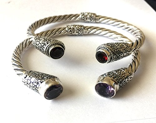 Sterling silver twisted rope cuff bracelet with garnet or amethyst AB16