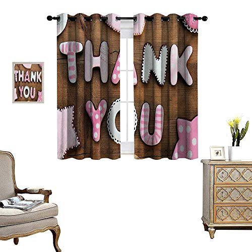 Thank You Patterned Drape for Glass Door Romantic Sweet Cookie Letters Sugar Candy on a Rustic Wood Table Image Waterproof Window Curtain W63 x L72 Pink White Brown