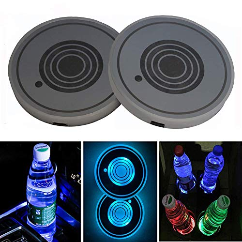 DIYcarhome 2 Pack LED Cup Holder Lights, Car Coaster with 7 Colors Changing USB Charging Mat, Luminescent Cup Pad Interior Atmosphere Lamp Decoration Light