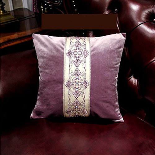 Pure Colour Jacquard weave Pillowcase - European Style Pillow Cover Bed Sofa Cushion Decorate Home Purple 17.7 x 17.7 Inch Jacquard 500 Thread